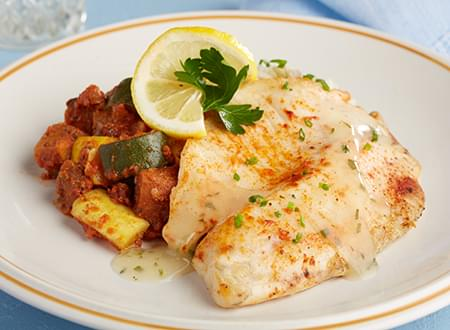 Low Carb Stuffed Tilapia with Lemon Sauce