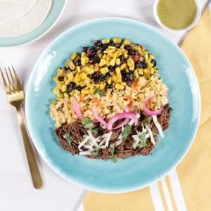 Beef Barbacoa Tacos with Mexican Rice & Black Bean Succotash
