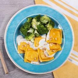 Butternut Squash Ravioli with Parmesan Cream and Garlic Broccoli