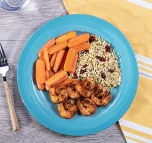 Cajun Grilled Shrimp Skewers with Herbed Brown Rice with Dried Cranberries with Carrots
