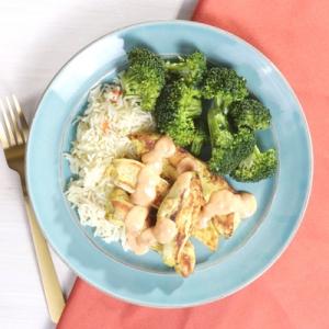 Chicken Satay with Basmati Rice and Broccoli