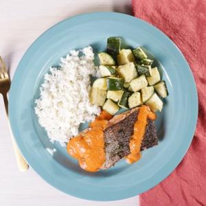 Crispy Skin Salmon with Jasmine Rice and Roasted Zucchini