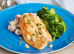 KETO: Flounder Almondine with Broccoli