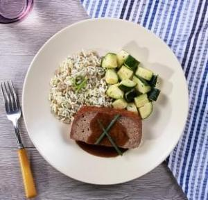 Homestyle Meatloaf with Herb Lentil Rice with Zucchini