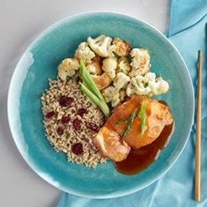 Mandarin Orange Chicken with Herbed Brown Rice with Dried Cranberries with Cauliflower Florets