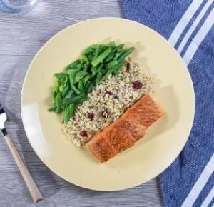 Seared Salmon with Brown Butter with Herbed Brown Rice with Dried Cranberries with Green Beans