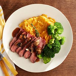 Sliced Flank Steak with Mushroom Sauce