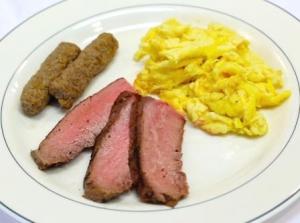 Sliced Flank Steak & Eggs (P)