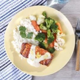 Coconut Pineapple Salmon with Jasmine Rice and California Vegetables