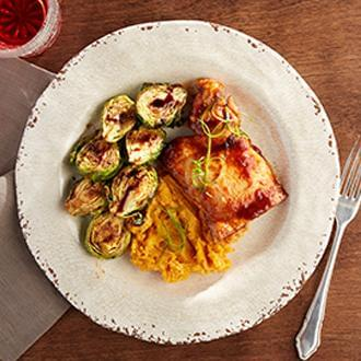 BBQ Chicken Thigh with Sweet Potatoes with Zucchini