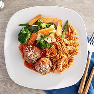 Tender Meatballs with House Made Marinara Sauce and Fresh Basil with Rotini Pasta with Green Beans