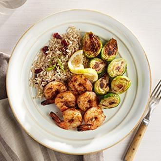 Cajun Grilled Shrimp Skewers with Herbed Brown Rice with Dried Cranberries with Brussel Sprouts