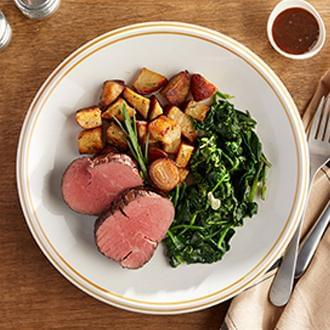 GOURMET LINE: Filet Mignon, w/ Bordelaise Sauce with Herb Roasted Red Potatoes with Spinach