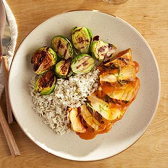 Grilled Buffalo Chicken with Herb Lentil Rice with Brussel Sprouts