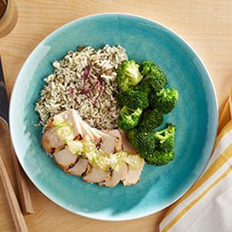 Pineapple Coconut Grilled Chicken with Herbed Brown Rice with Dried Cranberries with Asian Blend