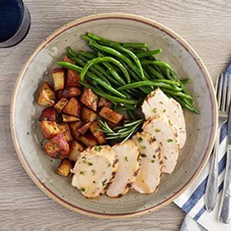 Grilled Chicken with Sweet Potatoes with Peas