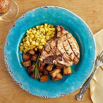 Grilled Center-Cut Pork Chop with Sweet Potatoes with Broccoli