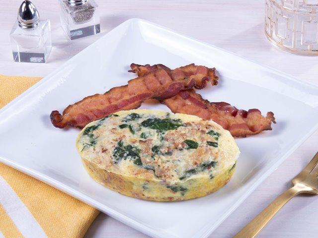 Keto: Spinach Egg and Bacon Frittata with NO SAUCE with Pork Bacon