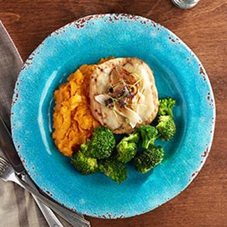 Turkey Burger with Swiss with Sweet Potatoes with Broccoli