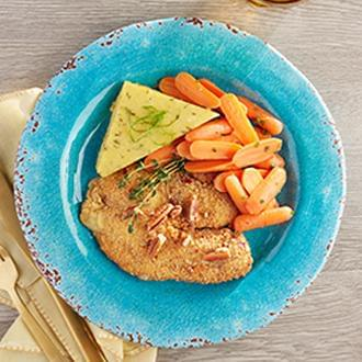 PREMIUM LINE:  Pecan Crusted Tilapia with Smashed Red Skin Potatoes with Butter with Carrots