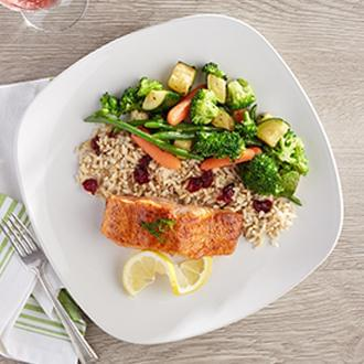 Seared Salmon with Brown Butter with Vegetable CousCous with Peas