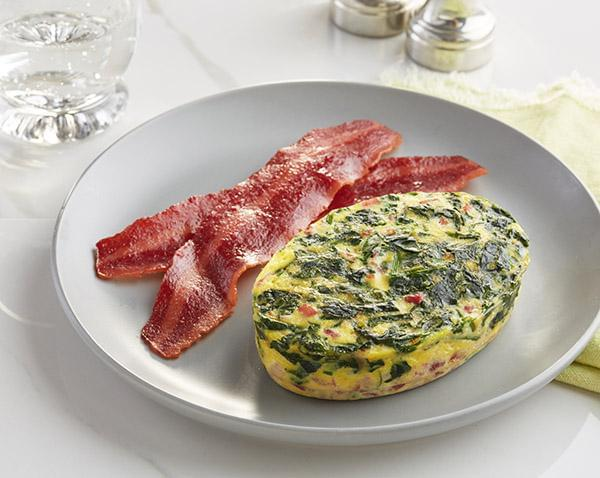 Keto: Spinach and Prosciutto Frittata with NO SAUCE with Turkey Bacon