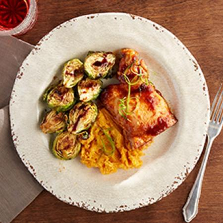 BBQ Chicken Thigh with Sweet Potatoes with Brussel Sprouts