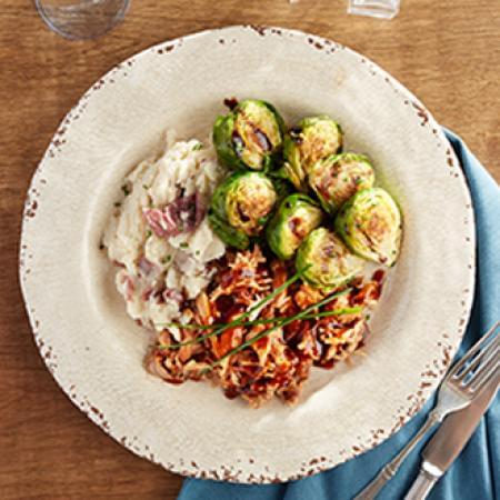 BBQ Pulled Turkey with Mashed Yukon Gold Potatoes with Brussel Sprouts