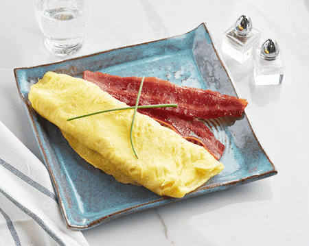 Keto Breakfast Whole Egg Omelet with Bacon For Ketosis