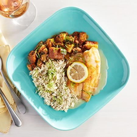 Lemon Tilapia with Herb Lentil Rice with Ratatouille