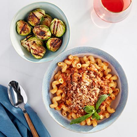 Cavatappi  Bolognese with PART OF ENTREE with Brussel Sprouts