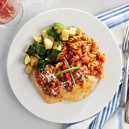 Chicken Cacciatore with Rotini Pasta with Zucchini