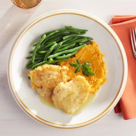 Chicken Francaise with Sweet Potatoes with Green Beans