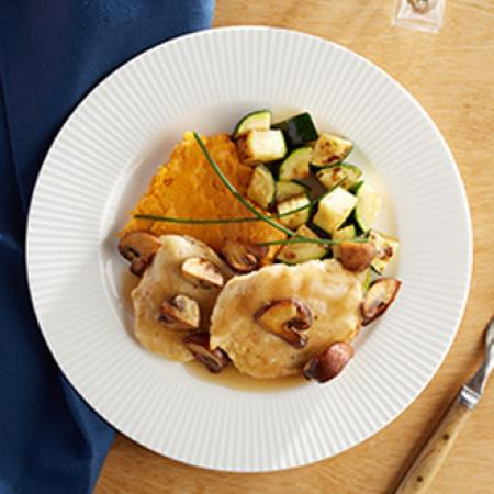 Chicken Marsala with Sweet Potatoes with Zucchini