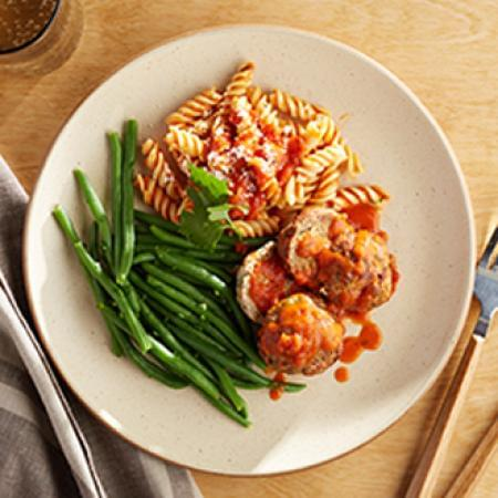 Turkey Meatballs Marinara with Rotini Pasta with Green Beans